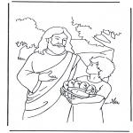 Bibel Ausmalbilder - 5 Brote  und 2 Fische 4
