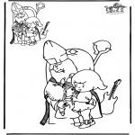 Basteln Stechkarten - Abzeichnen Sankt