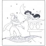 Ausmalbilder Comicfigure - Aladin auf seinem fliegenden Teppich