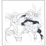 Ausmalbilder Comicfigure - Aladin beim Feuerwerk