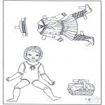 Malvorlagen Basteln - Ankleidpuppe und Kleider 2