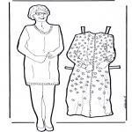 Malvorlagen Basteln - Anziehpuppe Oma