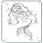 Ausmalbilder Comicfigure - Arielle, Die kleine Meerjungfrau 1