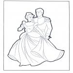Ausmalbilder Comicfigure - Aschenputtel und der Prinz