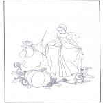 Ausmalbilder Comicfigure - Aschenputtel wird bezaubert
