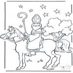 Basteln Stechkarten - Ausmalbilder Sankt Nikolaus