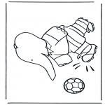 Ausmalbilder für Kinder - Babar spielt Fussball