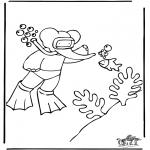 Ausmalbilder für Kinder - Babar Tauchen