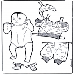Malvorlagen Basteln - Baby anziehen