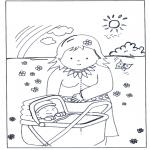 Ausmalbilder für Kinder - Baby in Kinderwagen