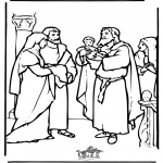 Bibel Ausmalbilder - Baby Jesus im Tempel