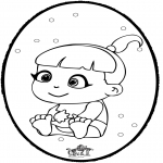 Ausmalbilder Themen - Baby Stechkarte 1