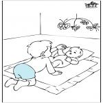 Ausmalbilder Themen - Baby und Bruder