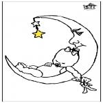 Ausmalbilder für Kinder - Baby und Mond