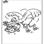 Ausmalbilder Themen - Baby und Storch 1
