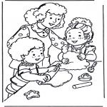 Ausmalbilder für Kinder - Backen mit Mama