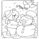 Malvorlagen Winter - Bär im Schnee