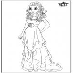 Ausmalbilder Comicfigure - Barbie Brautkleid