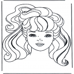 Ausmalbilder Comicfigure - Barbie Kopf