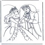 Ausmalbilder Themen - Barbie mit dem Prinz