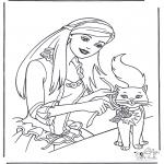 Ausmalbilder Comicfigure - Barbie und Katze