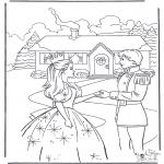 Ausmalbilder Comicfigure - Barbie und Prinz 2
