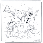 Malvorlagen Winter - Basteln schneemann