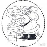 Basteln Stickkarten - Basteln Weihnachtsmann