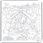 Bibel Ausmalbilder - Bei der Weihnachtskrippe