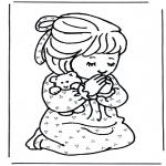 Bibel Ausmalbilder - Betendes  Mädchen