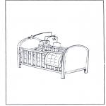 Ausmalbilder für Kinder - Bettchen