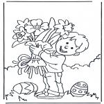 Ausmalbilder Themen - Blumen mit Ostern