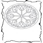 Malvorlagen Mandalas - Blumenmandala 3