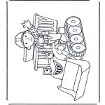 Ausmalbilder für Kinder - Bob mit Planierraupe