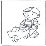 Ausmalbilder für Kinder - Bob mit Schubkarre 1