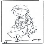 Ausmalbilder für Kinder - Bob mit Schubkarre 2