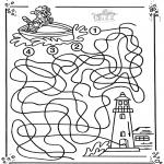 Malvorlagen Basteln - Boot labyrinth