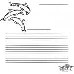 Malvorlagen Basteln - Briefpapier Delfin