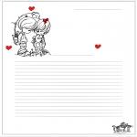 Ausmalbilder Themen - Briefpapier Valentin