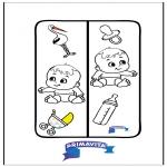 Malvorlagen Basteln - Buchzeichen -  baby