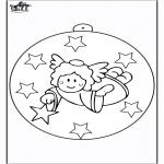 Ausmalbilder Weihnachten - Christbaumkugel mit Engel 2