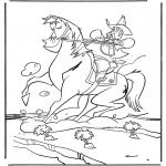 Ausmalbilder Tiere - Cowboy auf Pferd