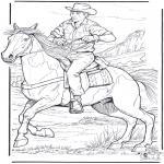 Ausmalbilder Tiere - Cowboy mit Pferd