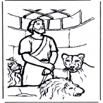 Bibel Ausmalbilder - Daniël in der Löwengrube 1