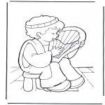 Bibel Ausmalbilder - David mit Kithara