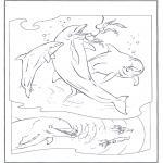 Ausmalbilder Tiere - Delfine 2