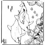 Ausmalbilder Tiere - Delfine 5