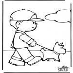 Ausmalbilder Tiere - den Hund ausführen