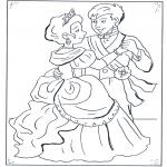 Ausmalbilder Comicfigure - der Prinz und Aschenputtel