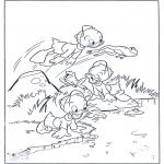 Ausmalbilder Comicfigure - Die Drillinge als Frösche